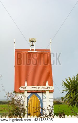 Little Chapel With Bright Orange Roof At Te Kopuru Northland New Zealand.