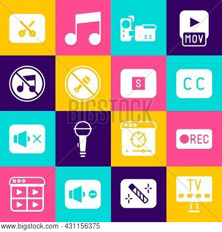 Set Smart Tv, Record Button, Subtitles, Cinema Camera, Mute Microphone, Speaker Mute, Music Video Ed