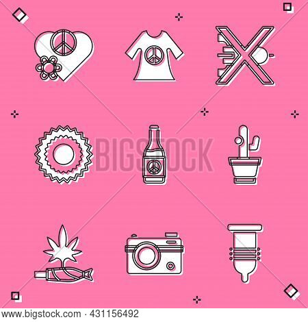 Set Love Peace, Peace Dress Print Stamp, No War, Sun, Beer Bottle, Cactus, Marijuana Joint, Spliff A