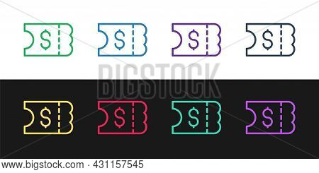 Set Line Lottery Ticket Icon Isolated On Black And White Background. Bingo, Lotto, Cash Prizes. Fina