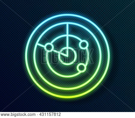 Glowing Neon Line Radar With Targets On Monitor In Searching Icon Isolated On Black Background. Sear