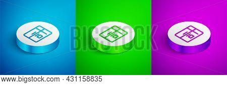 Isometric Line Refrigerator Icon Isolated On Blue, Green And Purple Background. Fridge Freezer Refri