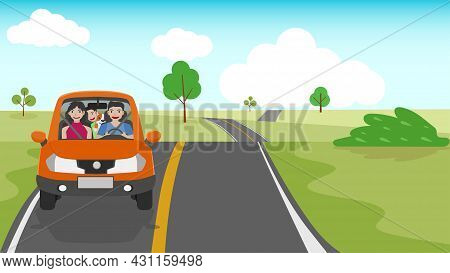 Family Time Travel To Nature Atrea. Father Drives His Wife And Son With A Dog. Happy Family Rides Ca