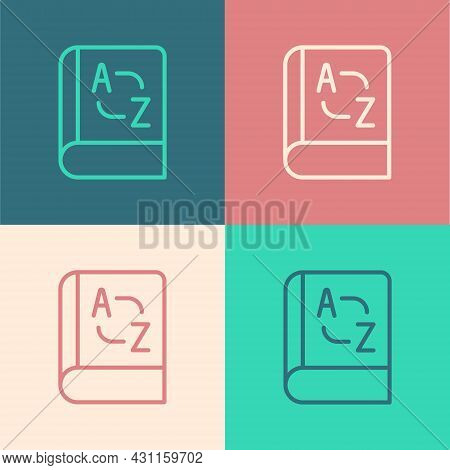 Pop Art Line Translator Book Icon Isolated On Color Background. Foreign Language Conversation Icons