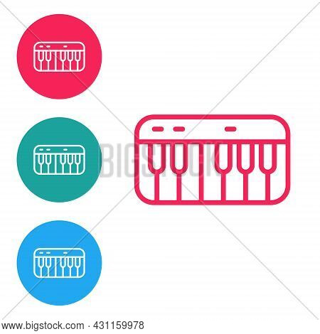 Red Line Music Synthesizer Icon Isolated On White Background. Electronic Piano. Set Icons In Circle