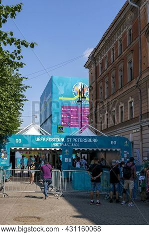 St. Petersburg, Russia - July 09, 2021: Entrance To The Football Village At Euro 2020 In St. Petersb