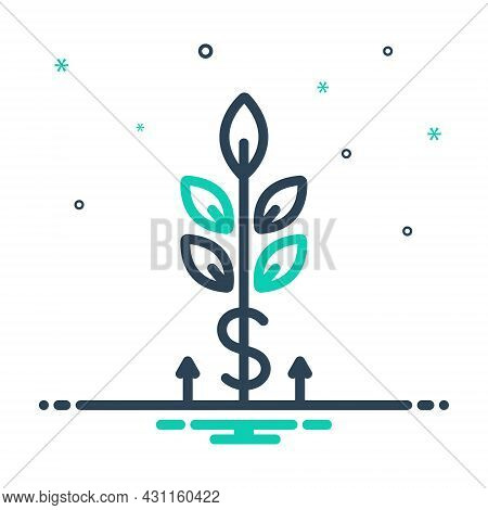 Mix Icon For Grow Wealth Germinate Vegetative Pullulate Sprouts Increase Spread Commerce Agriculture