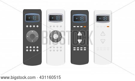 A Set Of Remotes From The Air Conditioner 3d. Realistic Vector Remote Control. Isolated On White