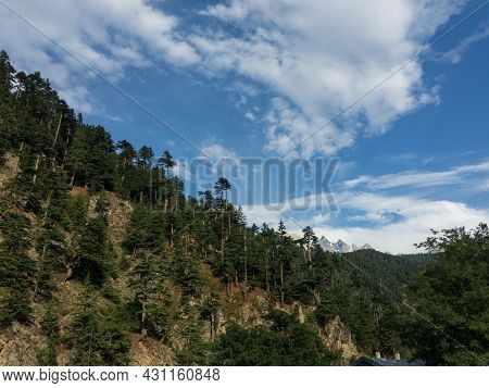 Beautiful Scenic View Of A Mountains In Kalam Swat