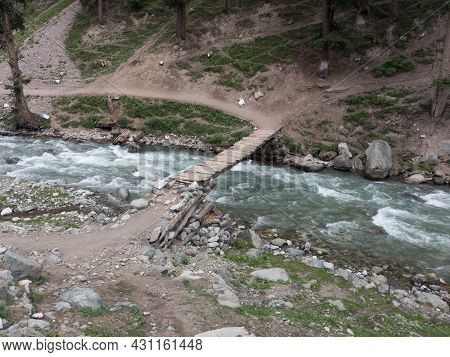 Wooden Bridge On The River In Bluewater Kalam Swat