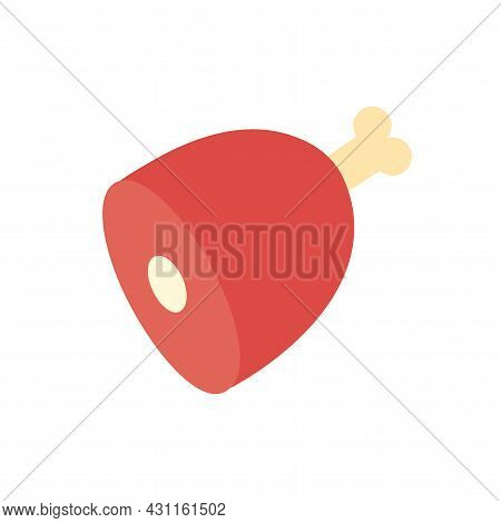 Ham, Gammon Icon. Isolated Flat Color Icon. Vector Illustration. Modern Glyph Design. Meat Products.