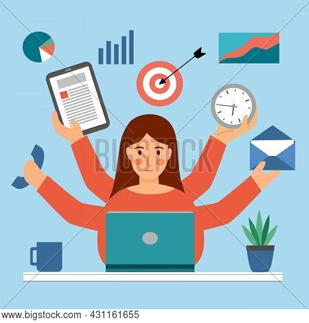 Multitasking Woman Concept Vector Illustration. Businesswoman Busy Working At Office. Overworked. Wo