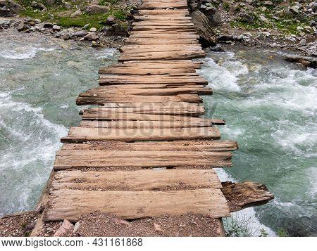 Closeup Of A Wooden Bridge In Bluewater Kalam Swat