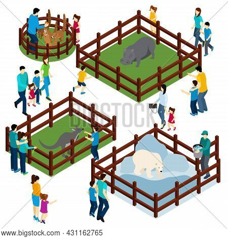 Outdoor Zoo Park With Wild Animals In Open Enclosures And Visitors Isometric Composition Banner Abst