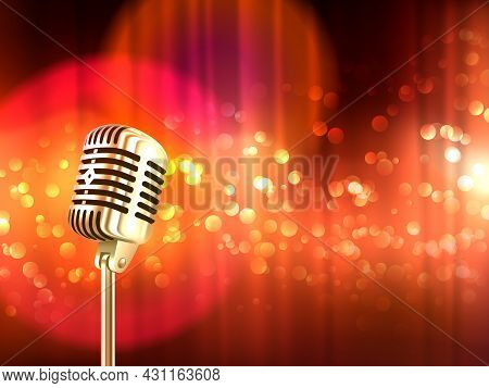 Old Fashioned Retro Big Metallic Microphone Against Blurred Red Light Spots Background Vintage Poste