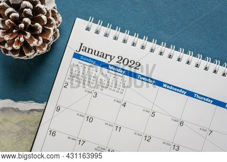 January 2022 - spiral desktop calendar against with a frosty pine cone against winter abstract paper landscape, New Year, time and business concept
