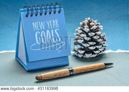 New Year goals - handwriting in a small desktop calendar with a frosty pice cone against abstract paper landscape, goal setting and resolutions concept