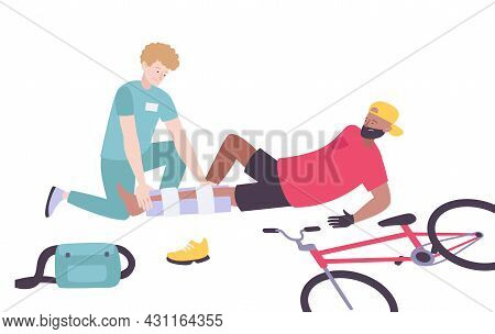 Paramedic Giving First Aid To Man Who Fell Off Bike Flat Vector Illustration