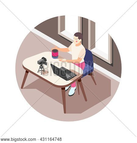 Vlogger With Camera And Laptop Making Video About Electronic Devices Isometric Icon Vector Illustrat