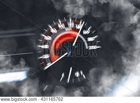 Car Speedometer High Performance And Indicator Sweeping To High Power Speed And Smoke,double Exposur