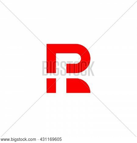 Letter Rf Red Negative Space Geometric Simple Logo Vector