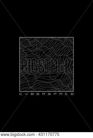 Cyberspace T-shirt And Apparel Design With A Cyber Surface Grid In Square Frame. Cyber Culture Aesth