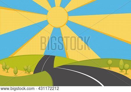 Road Through Fields And Hills. Winding Empty Asphalt Highway. Cartoon Illustration Of The Asphalt Ro