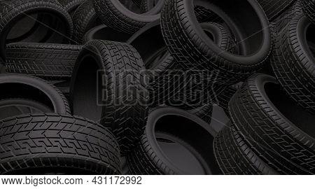 Tyres Bulk Background. Black Tires Piles On A Garage Or Store. 3d Render Illustration