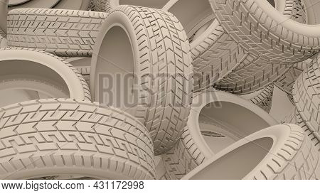 Tyres Bulk Background. Clay Render Tires Piles On A Garage Or Store. 3d Illustration