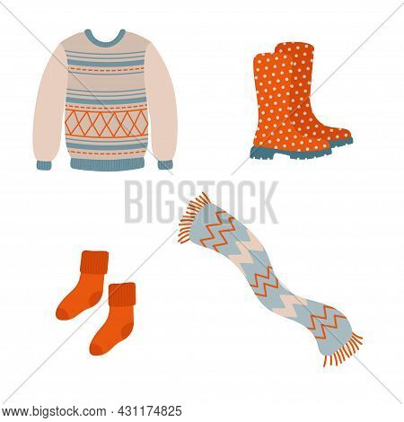 Cute Cozy Fall Season Clothing And Accessories. Autumn Clothes For Cold Weather. Hand Drawn Elements