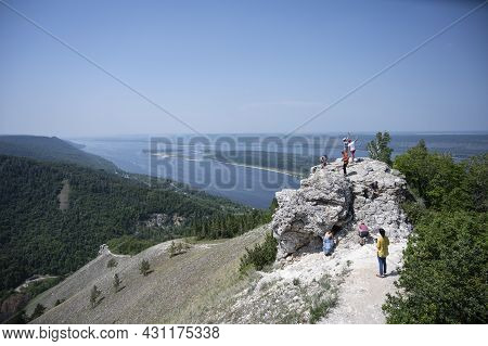 View Of The Volga River And Strelnaya Mountain In The Samara Region In Russia. A Clear Sunny Day On