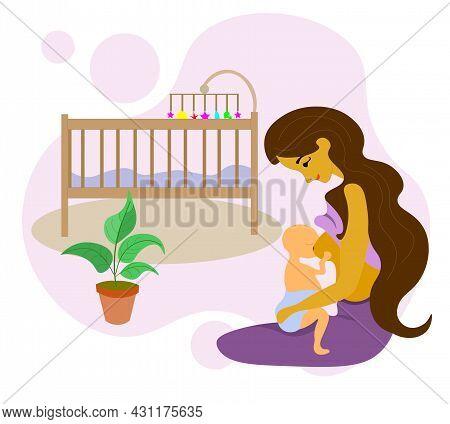Woman Is Breastfeeding Her Newborn Baby. Family, Health, Lactation, Motherhood. World Breastfeeding