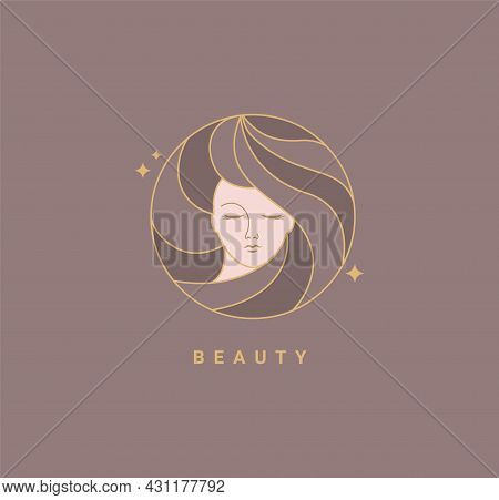 Woman Beauty Salon Fashion Template Logo. Design In Minimal Style, Emblem For Beauty Studio And Cosm