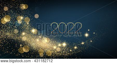 2022 New Year Abstract Shiny Color Gold Wave Design Element