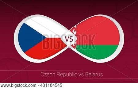 Czech Republic Vs Belarus In Football Competition, Group E. Versus Icon On Football Background. Vect