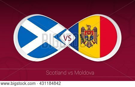Scotland Vs Moldova In Football Competition, Group F. Versus Icon On Football Background. Vector Ill