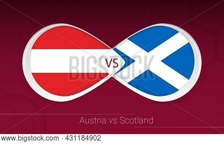 Austria Vs Scotland In Football Competition, Group F. Versus Icon On Football Background. Vector Ill