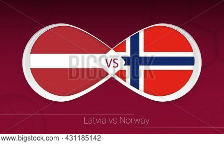 Latvia Vs Norway In Football Competition, Group G. Versus Icon On Football Background. Vector Illust