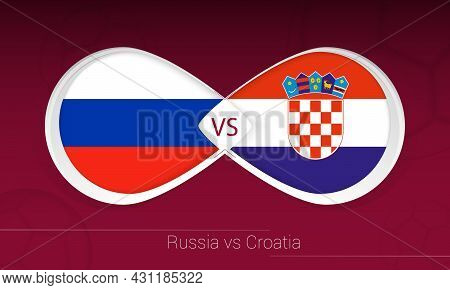 Russia Vs Croatia In Football Competition, Group H. Versus Icon On Football Background. Vector Illus