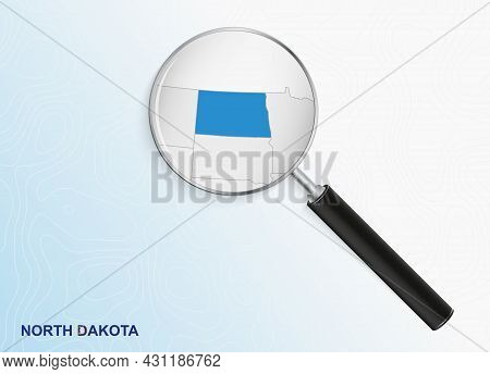 Magnifier With Map Of North Dakota On Abstract Topographic Background. Vector Map.