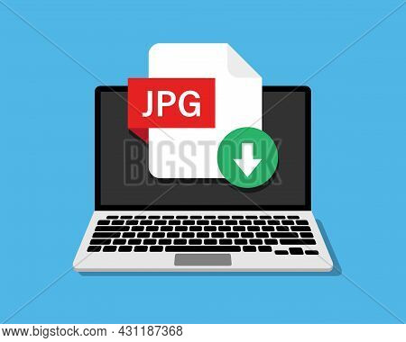 File Download On Laptop Screen. Downloading Document Concept. Jpg File Download. Vector Illustration