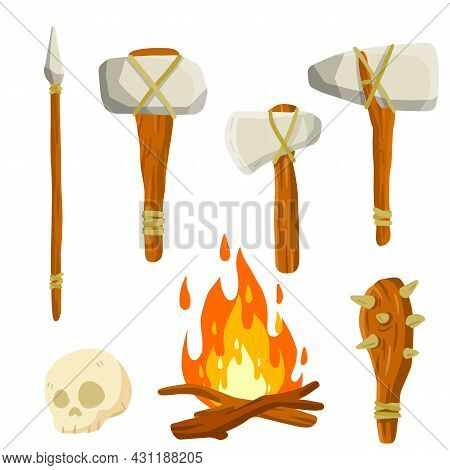 Set Of Stone Age Man. Caveman Weapons For Hunting And Life. Wooden Club, Spear And Hammer, Axe And F