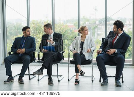 Business People Meeting Conference Discussion Corporate Concept In Office. Team Analyzing Statistics