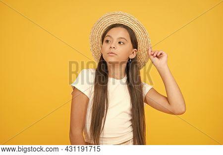 Teen Girl Summer Fashion. Little Beauty In Straw Hat. She Deserve Good Rest. Summer Camp For Kids. B