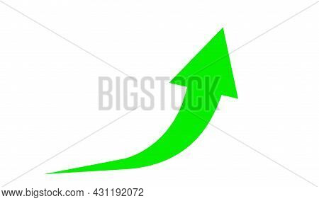 Rising Arrow Sign Green For Icon, Business And Finance Concept, Arrow Green Pointing Up Symbol, Dire