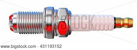 Spare Part Spark Plug On White Background For Car. 3d Rendering