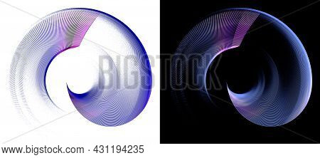 Blue Transparent Airy Elements Are Layered And Rotate In A Spiral On White And Black Backgrounds. Gr