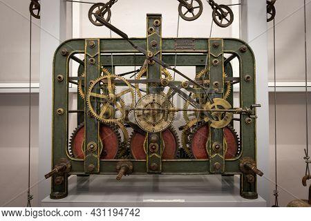 Sogel, Germany - August 25, 2021: Anceint Clock In Castle Clemenswerth In Sogel Lower Saxony In Germ