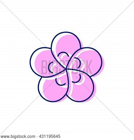Taiwanese Flower Flat Icon. Taiwan. Plum Blossom. Oriental Custom. Asian Item. Color Filled Symbol.
