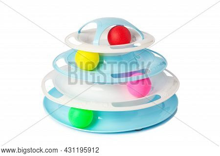 Interactive Cat Toy Four Level Roller Isolated On White Background. Cat Toy With Colored Plastic Bal